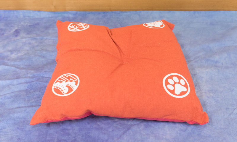 Cushion in orange color for pets.
