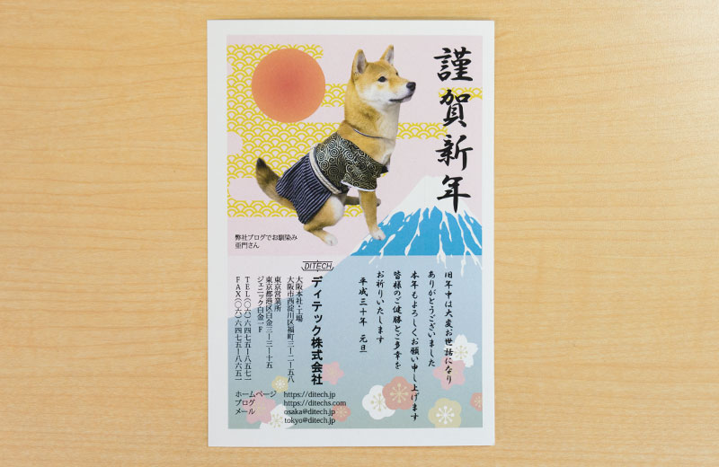 Shiba Inu, Amo-san, in New Year card because of Year of the dog