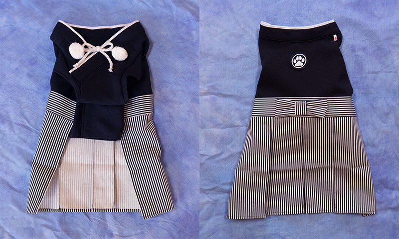 Black hakama for dogs   Front and Back