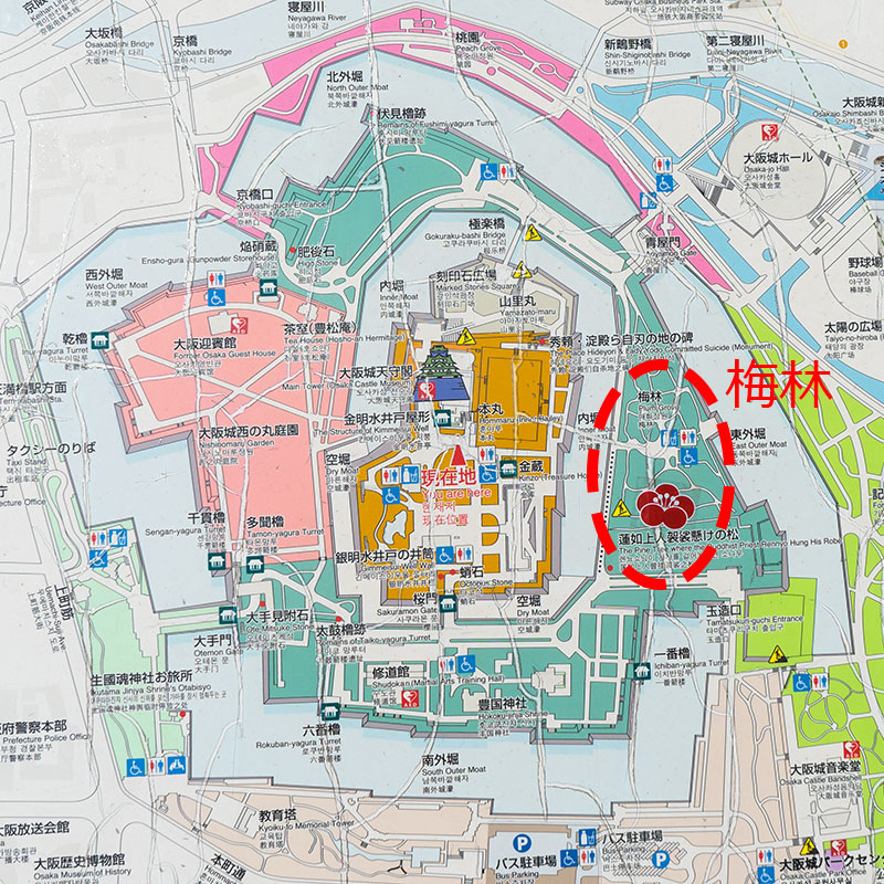 Map of Osaka Castle park (location of plum trees)